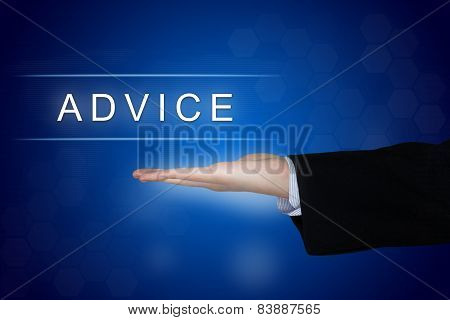 Advice Button On Blue Background