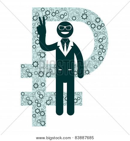 Businessman showing victory sign on a background of ruble signs.