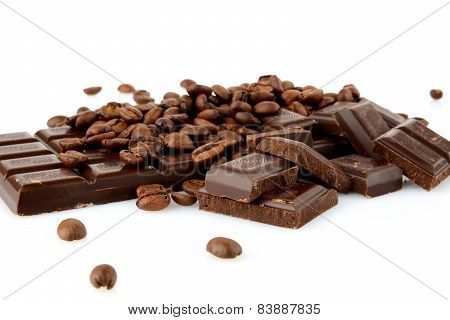 Studio Shot Of Chocolates And Beans Of Coffee