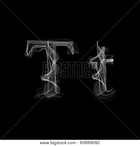 Smoke font. Letter T