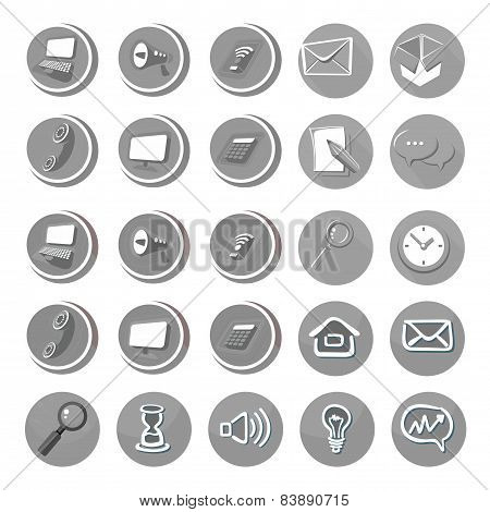 Electronic device icons in cartoon style