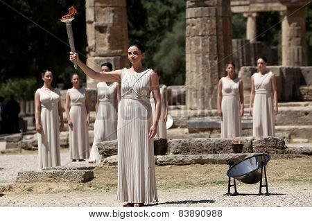 High Priestess, The Olympic Flame During The Torch Lighting Ceremony Of The Olympic Games In London