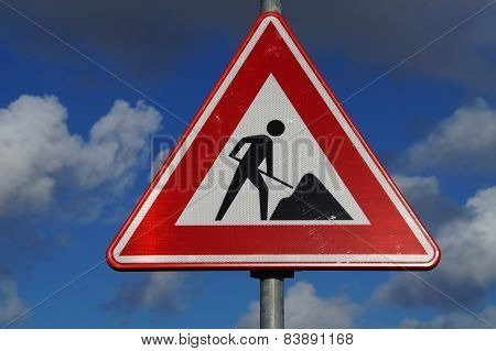 Road construction warning and safety sign