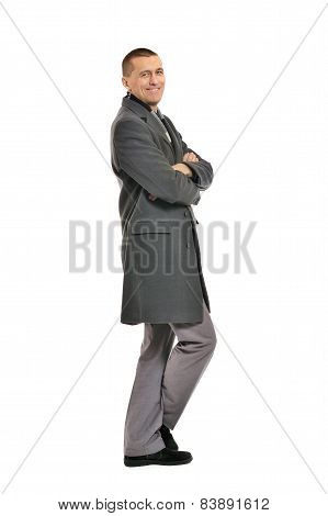 man posing in coat