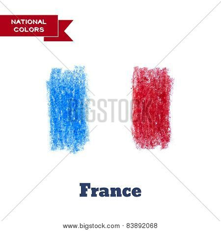 Handdrawn In Pencil France Flag