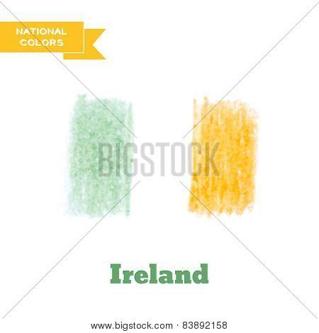 Handdrawn In Pencil Ireland Flag