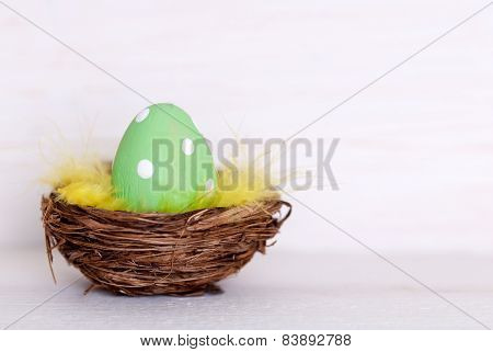 One Green Easter Egg In Nest With Copy Space
