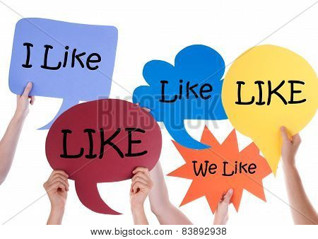 Many Colorful Speech Balloons With Like