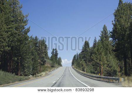 Road Through Nature Around Mammoth Lakes In California