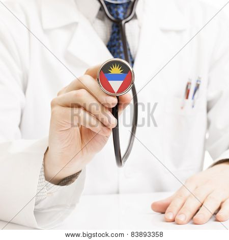 Doctor Holding Stethoscope With Flag Series - Antigua And Barbuda