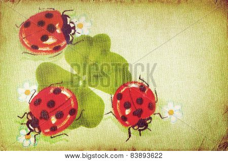 Vintage ladybugs on the clover leaf