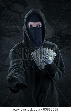 Scary Robber Forcing To Take Money