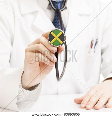 Doctor Holding Stethoscope With Flag Series - Jamaica