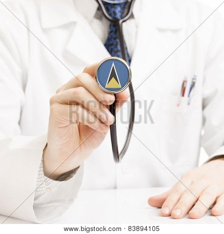 Doctor Holding Stethoscope With Flag Series - Saint Lucia