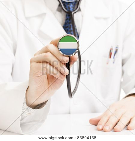 Doctor Holding Stethoscope With Flag Series - Sierra Leone