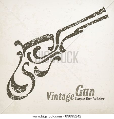 Gun On White