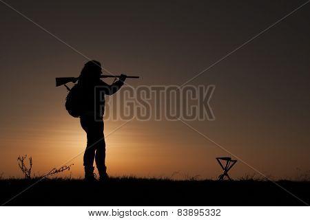 Women with shotgun