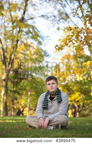 Serious Teen With Scarf