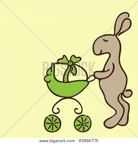 Easter Bunny With Egg In Pram