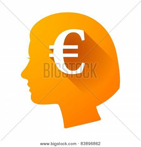 Female Head Icon With An Euro