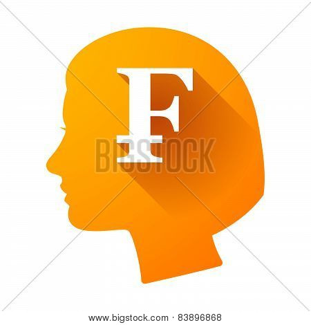 Female Head Icon With A Swiss Franc Sign