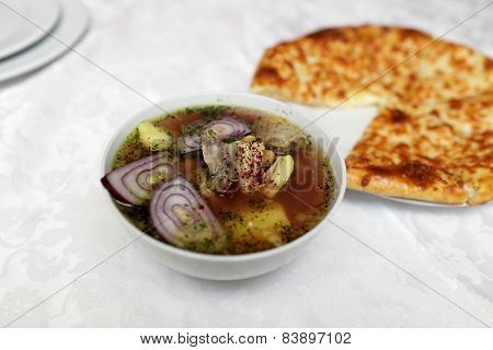 Piti Soup And Khachapuri