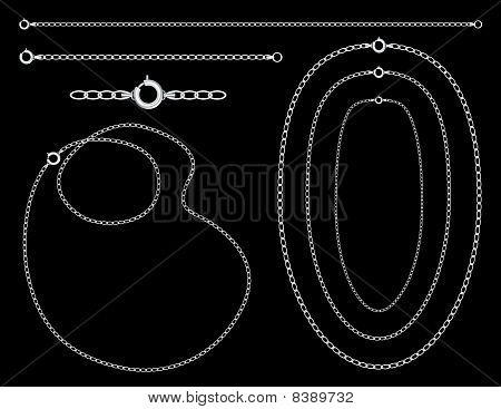 Pulseira, colares e correntes de prata