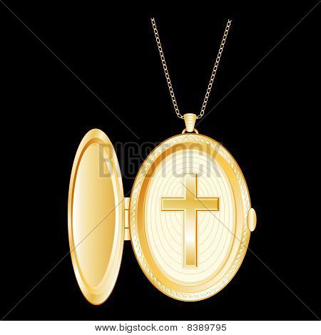 Gold Cross Locket