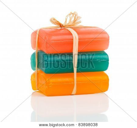 Handmade Colorful Soap Bars, Isolated On White Background
