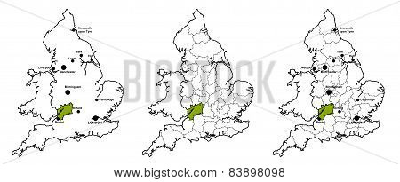 Gloucestershire located on map of England