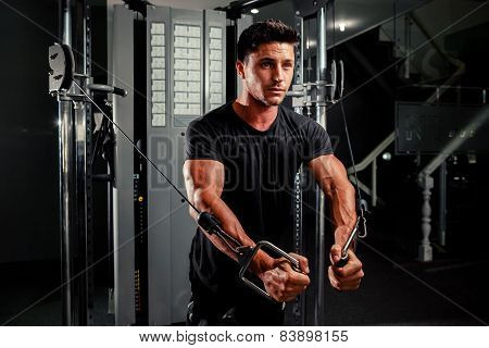 Handsome Man Work Out In Gym