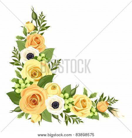 Corner with yellow roses. Vector illustration.