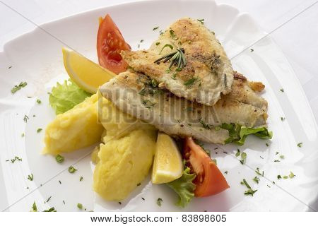 Fried Fish With Mashed Potatoes.