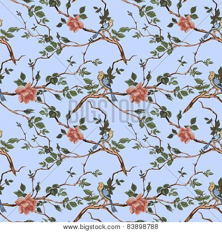 Rose blossom branches with bird seamless pattern