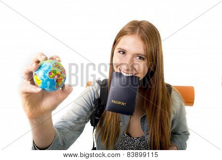 Young Student Tourist Woman Holding Passport On Mouth Searching Travel Destination Holding World Glo