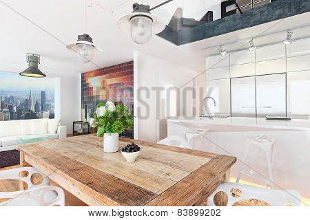 Contemporary highrise apartment condominium overlooking a city background . Photo realistic 3d scene