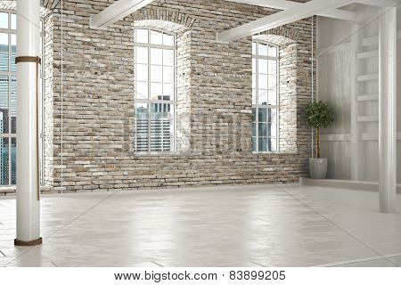 Empty room of business,or residence with brick interior and a city background. Photo realistic 3d sc