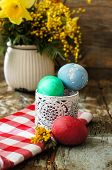 stock photo of easter eggs bunny  - Easter time spring flowers easter eggs and easter bunny - JPG