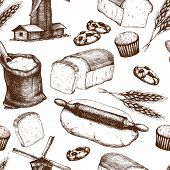 stock photo of home-made bread  - Vector seamless pattern with ink hand drawn bread illustration isolated on white - JPG