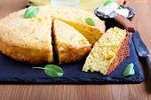 stock photo of sweet-corn  - Spicy cornbread with sweet corn and chicken - JPG