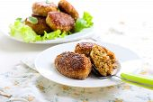 pic of patty-cake  - Fish cakes fried in bran crumbs on plate - JPG