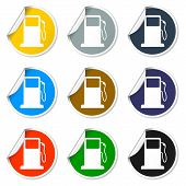 stock photo of gasoline station  - Gasoline pump nozzle sign - JPG