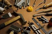 stock photo of leather tool  - Homemade leather crafting tools and accessories  - JPG