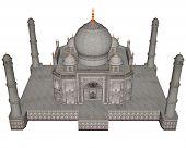 image of mausoleum  - Taj Mahal mausoleum isolated in white background  - JPG