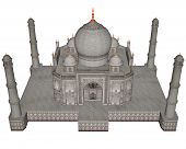 pic of mausoleum  - Taj Mahal mausoleum isolated in white background  - JPG