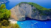 picture of shipwreck  - Aerial view of the most beautiful beach in Zakynthos island - Navagio with shipwreck Greece Ionian islands