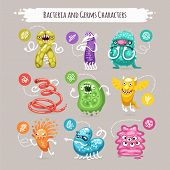 picture of germs  - Bacteria and Germs Characters Set for Medical Design - JPG