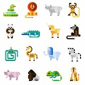 foto of panda  - Jungle animals set with snake lion monkey panda bear isolated vector illustration - JPG