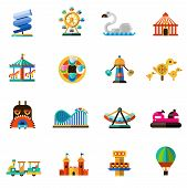 picture of carnival ride  - Family amusement recreational fun park decorative icons set isolated vector illustration - JPG