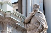 picture of vicenza  - The statue of the famous Italian architect of the Renaissance Andrea Palladio placed by the Basilica palladiana in Vicenza - JPG